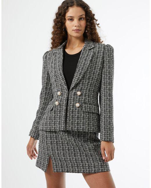 Черный Двубортный Пиджак Из Ткани Букле -черный Цвет Miss Selfridge, цвет: Black