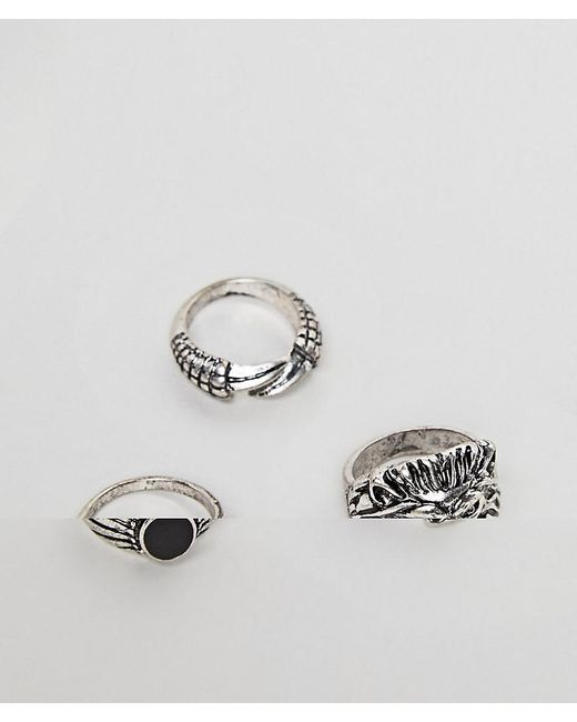 ASOS DESIGN - Metallic Ring Pack With Lion In Burnished Silver Tone for Men - Lyst