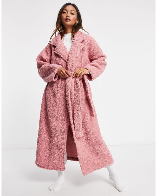 Розовый Халат Макси Из Искусственного Меха ASOS, цвет: Pink