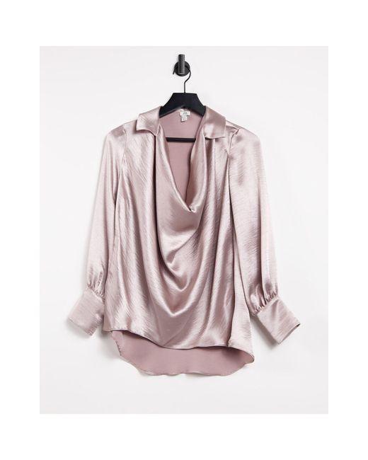 Кремовая Атласная Рубашка Со Свободным Воротом -белый River Island, цвет: Pink