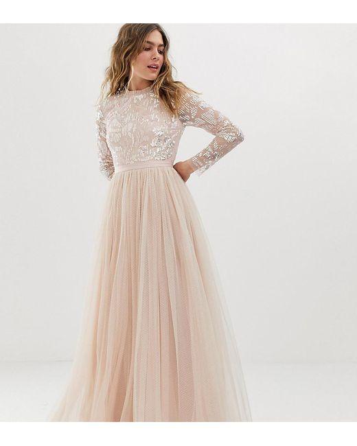Robe longue manches longues ornementée avec jupe en tulle - Rose quartz Needle & Thread en coloris Pink