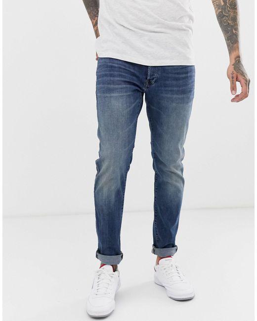 3301 - Jeans slim lavaggio invecchiato medio di G-Star RAW in Blue da Uomo