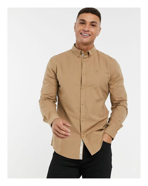River Island Brown Long Sleeve Regular Fit Oxford Shirt for men
