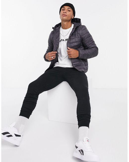 Серая Дутая Куртка С Капюшоном -серый New Look для него, цвет: Gray