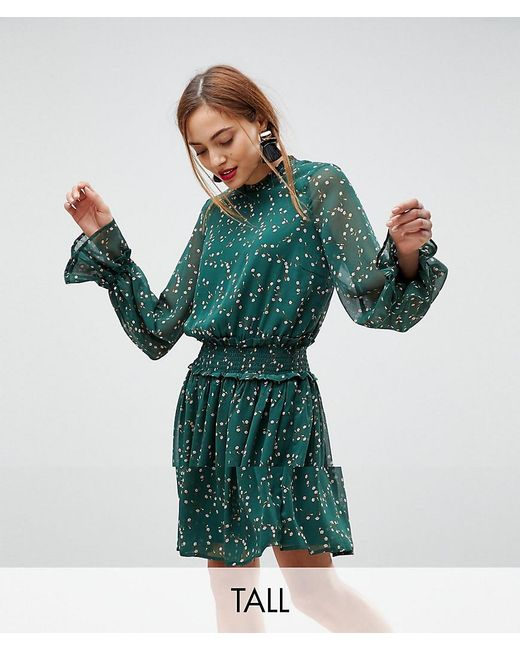 Y.A.S - Ditsy Floral Midi Skater Dress In Green - Lyst