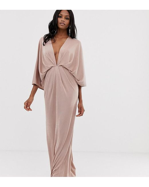 5287b9a63c3c ASOS - Brown Backless Kimono Plunge Maxi Dress - Lyst ...
