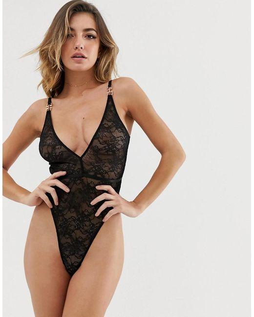 cf9197598b54 ASOS - Black Elle Delicate Lace Strappy Back Bodysuit - Lyst ...
