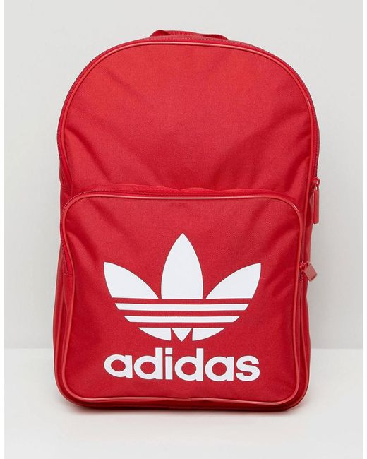 Adidas Originals - Large Trefoil Logo Backpack In Red Dq3157 for Men - Lyst  ... b8fb598ac2679