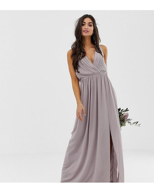 TFNC London Gray Bridesmaid Exclusive Pleated Maxi Dress With Back Detail In Grey