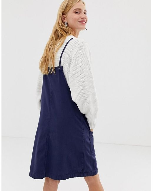 eb7addf995 Monki Denim Overall Dress In Blue in Blue - Lyst