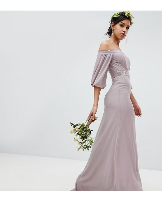 get online hot product agreatvarietyofmodels Women's Gray Bardot Maxi Bridesmaid Dress With Sleeve Drama And Embellished  Waist