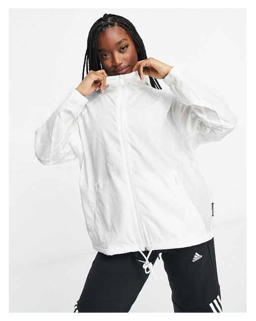 Белая Ветровка -белый Adidas, цвет: White