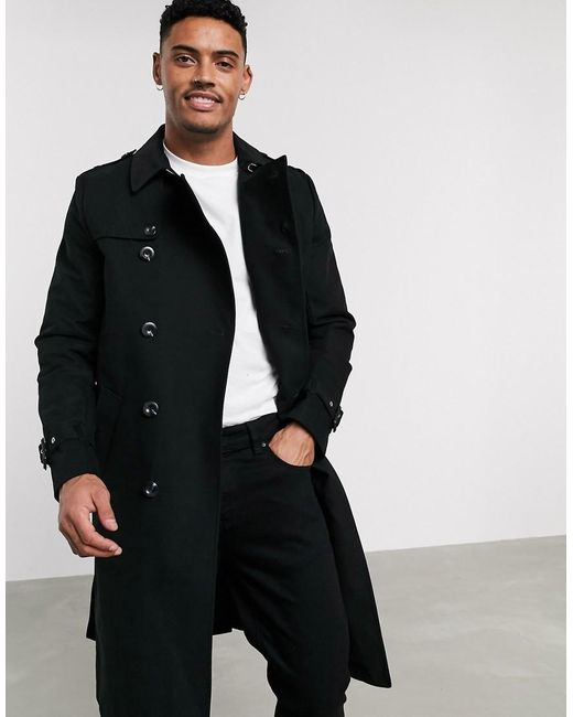 Trench-coat imperméable coupe longue avec ceinture ASOS pour homme en coloris Black