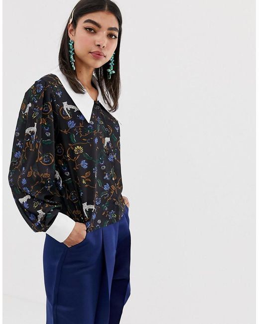 Sister Jane Blue Blouse With Oversized Collar In Jungle Print