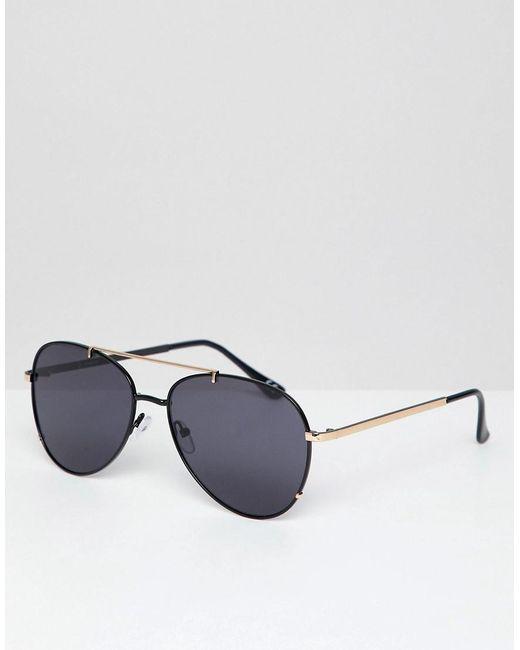 ASOS - Black Lunettes de soleil aviateur rondes avec barre suprieure dor  for Men - Lyst ... cc4f45f8c502