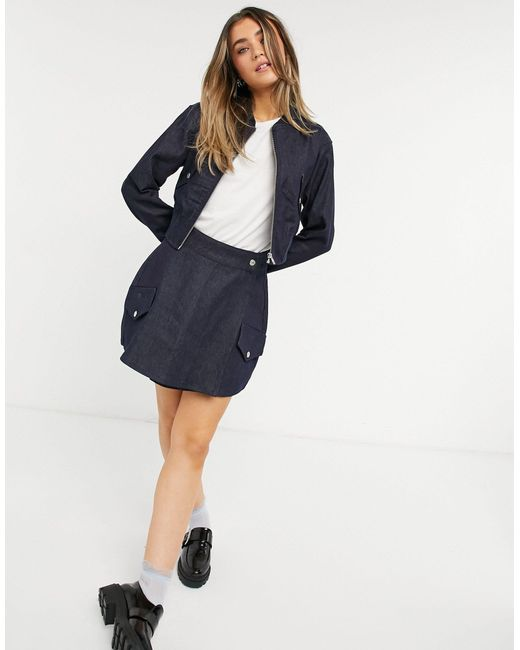 Джинсовая Куртка-бомбер Цвета Индиго (от Комплекта) -голубой TOPSHOP, цвет: Blue