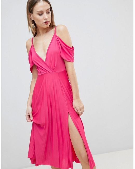 1aadc974ecf39 ASOS - Pink Cold Shoulder Cowl Back Pleated Midi Dress - Lyst ...
