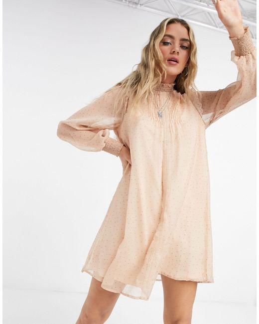 Vila Pink High Neck Smock Dress