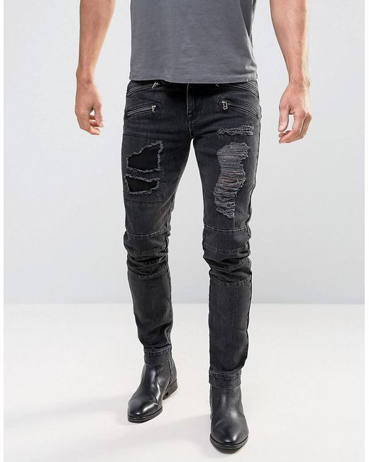 DESIGN Plus Super Skinny 12.5Oz Jeans With Knee Rips In Washed Black - Black Asos gXv8Aky6I3
