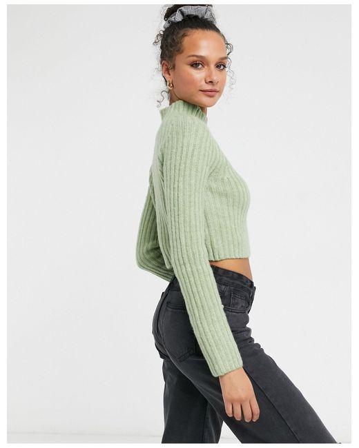 Шалфейно-зеленый Джемпер В Рубчик Celine Monki, цвет: Green