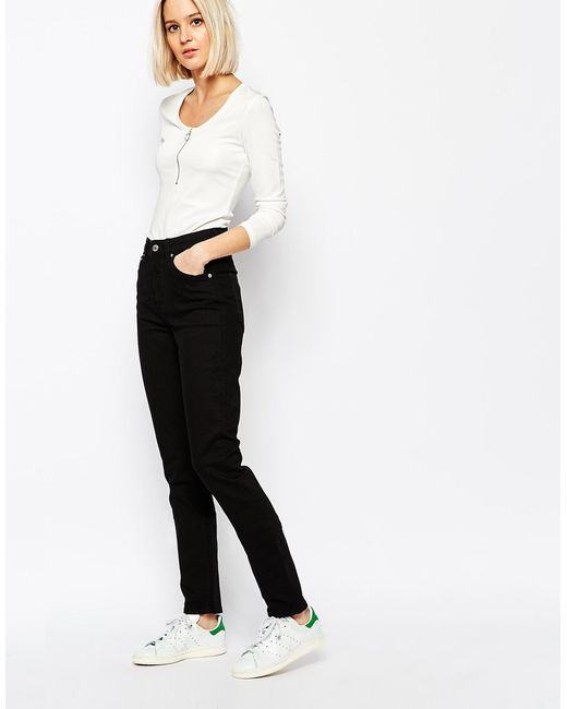 Weekday Way High Waist Slim Leg Jeans in Black | Lyst