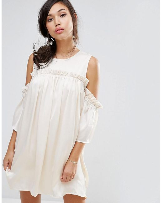 Fashion Union | Natural Cold Shoulder Dress With Frill | Lyst