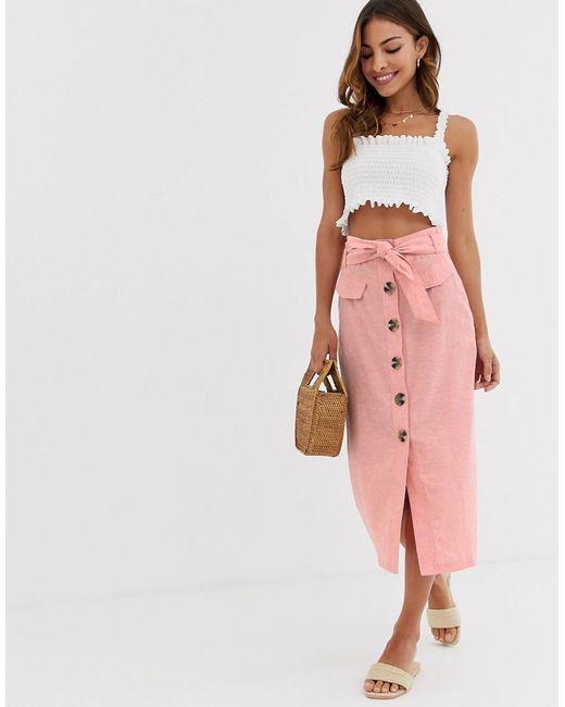 materiales superiores mayor descuento Códigos promocionales Falda midi con botones en la parte delantera en rosa de mujer