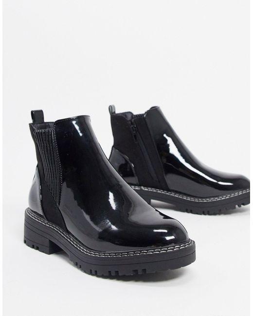 Черные Лакированные Ботинки Челси -черный River Island, цвет: Black