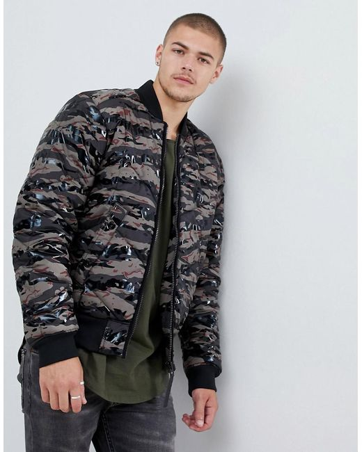 G-Star RAW - Meefic Quilted Camo Bomber Jacket In Green for Men - Lyst