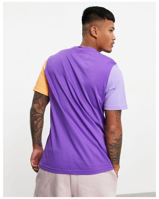 T-shirt viola color block con trifoglio di Adidas Originals in Purple da Uomo