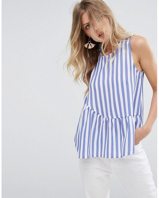 Mango | Blue Stripe Pephem Top | Lyst