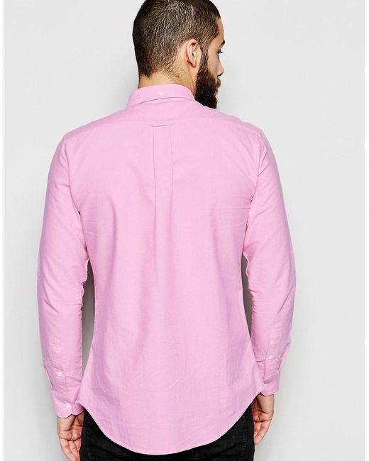 Farah oxford shirt in slim fit in pink for men lyst for Pink oxford shirt men