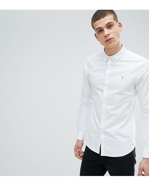 53d35c996e7 Farah Brewer Slim Fit Oxford Shirt In White in White for Men - Lyst