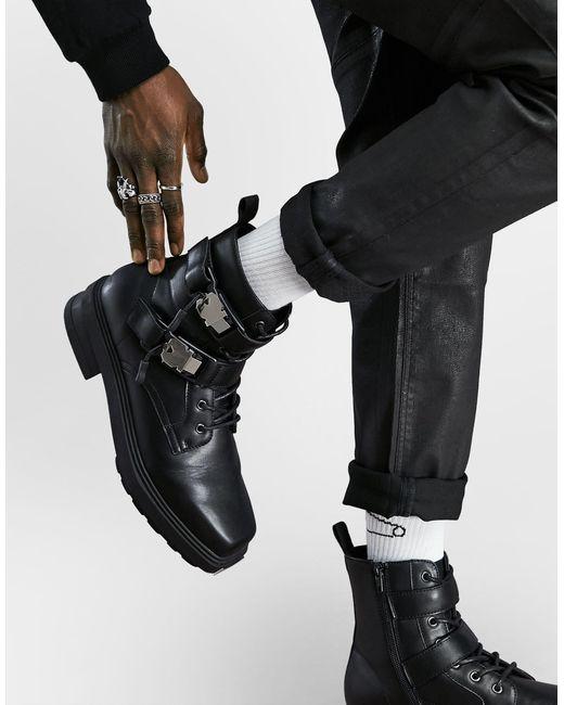 Ботинки На Шнуровке Из Искусственной Кожи На Массивной Подошве С Квадратным Носком ASOS для него, цвет: Black