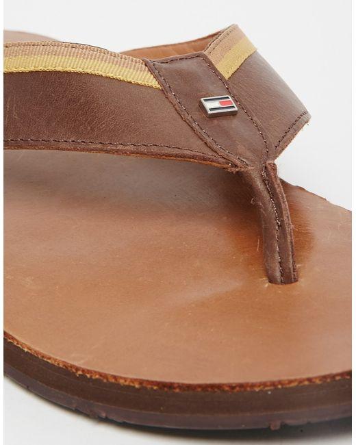 tommy hilfiger leather flip flops in brown for men lyst. Black Bedroom Furniture Sets. Home Design Ideas