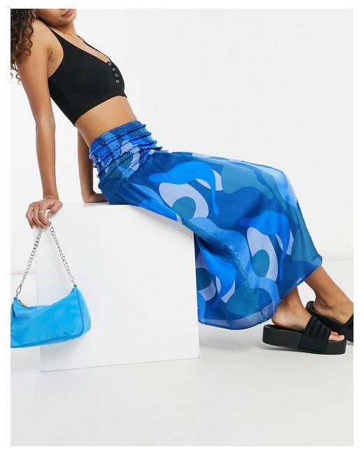 Синяя Присборенная Юбка Миди С Абстрактным Принтом От Комплекта -голубой Never Fully Dressed, цвет: Blue