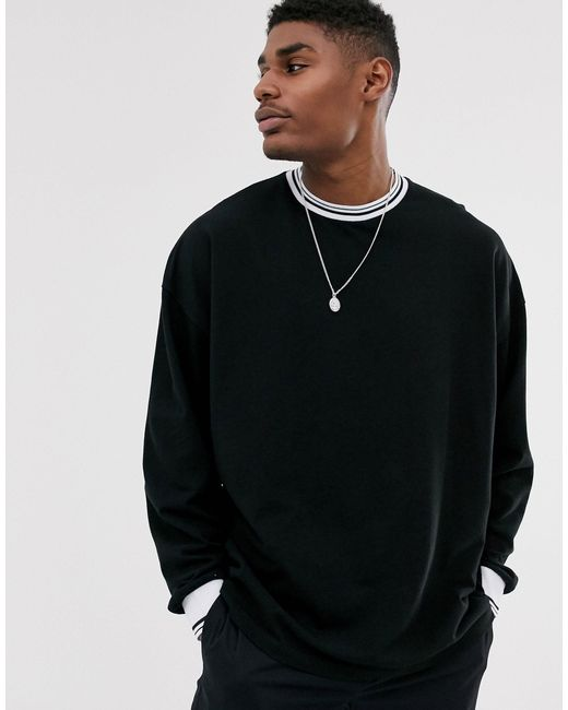 ASOS Black Pique Oversized Long Sleeve T-shirt With Tipping for men