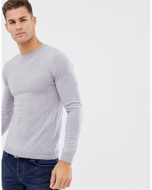 ASOS - Asos Muscle Fit Merino Wool Sweater In Light Gray for Men - Lyst