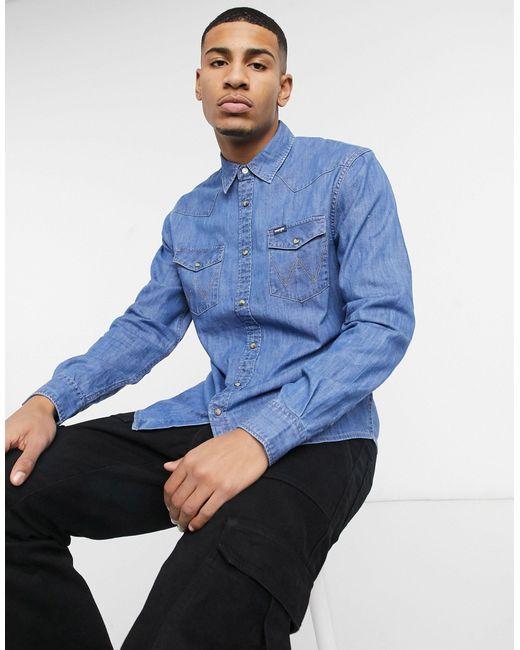Джинсовая Рубашка В Стиле Вестерн -синий Wrangler для него, цвет: Blue