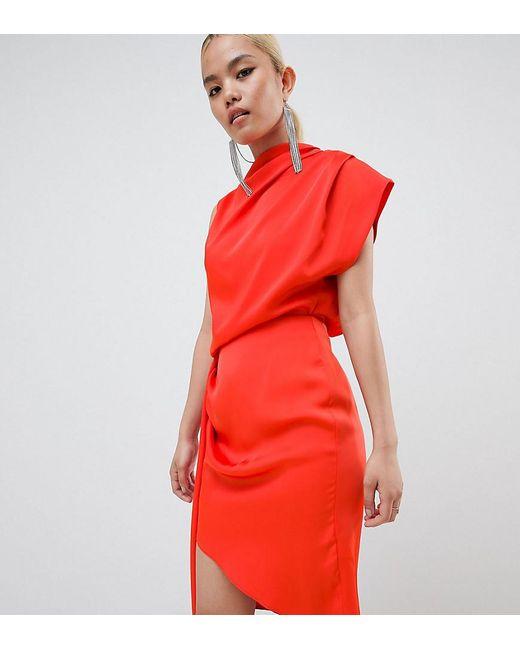 ASOS - Orange Asos Design Petite Satin Drape Midi Dress With Sash Detail - Lyst