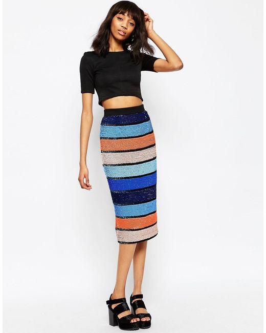 asos midi pencil skirt in allover embellished stripe in