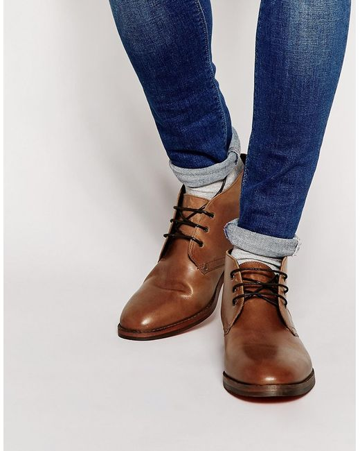 H by hudson Houghton Leather Chukka Boots in Brown for Men | Lyst