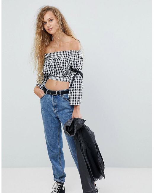 Love | Blue Shearing Crop Top With Tie Sleeves | Lyst