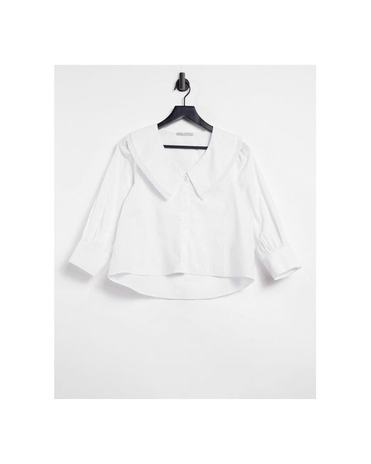 Белая Блузка С Воротником -белый Pull&Bear, цвет: White
