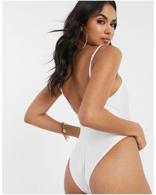 Слитный Купальник Со Шнуровкой -белый South Beach, цвет: White