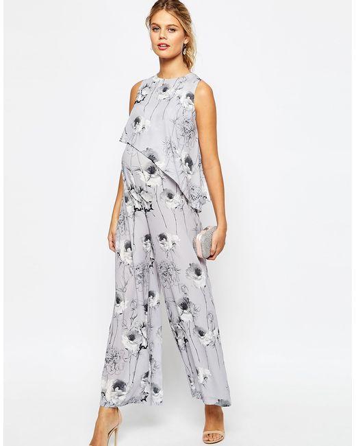 Asos Salon Jumpsuit In Mono Floral Print - Multi in Grey ...
