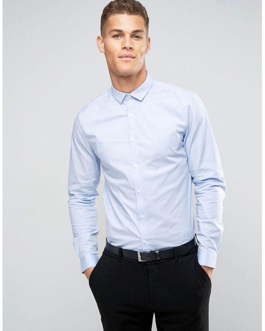 ASOS | Slim Shirt With Stretch In Blue for Men | Lyst