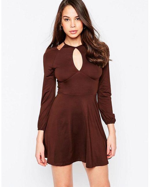 AX Paris | Brown Cold Shoulder Dress With Keyhole | Lyst