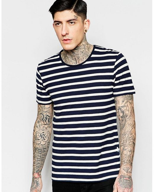 minimum t shirt with breton stripe in navy in multicolor