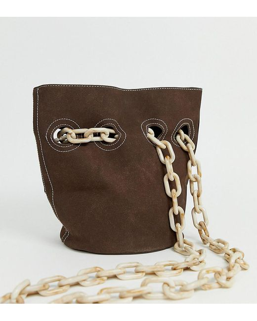 Glamorous Exclusive Slouch Brown Shoulder Bag With Chain Straps